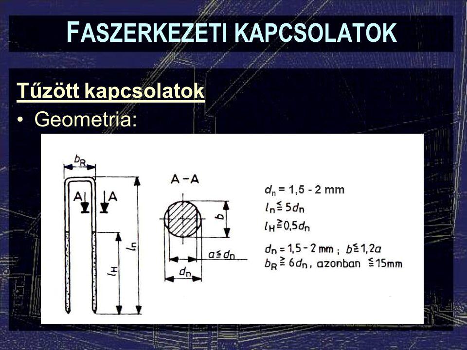 Tűzött kapcsolatok Geometria: F ASZERKEZETI KAPCSOLATOK d n = 1,5 - 2 mm