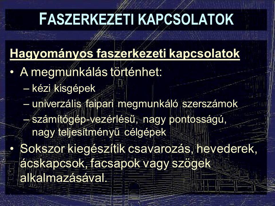 Kapcsolószerelvények F ASZERKEZETI KAPCSOLATOK Sablon (felsőmaró, fúró)