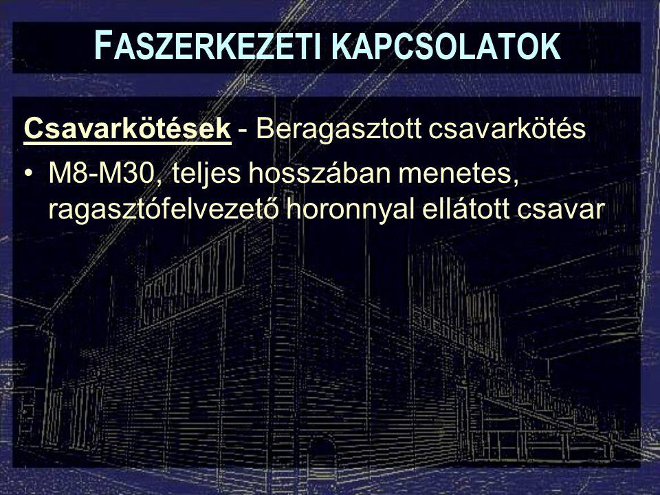 Csavarkötések - Beragasztott csavarkötés F ASZERKEZETI KAPCSOLATOK M8-M30, teljes hosszában menetes, ragasztófelvezető horonnyal ellátott csavar