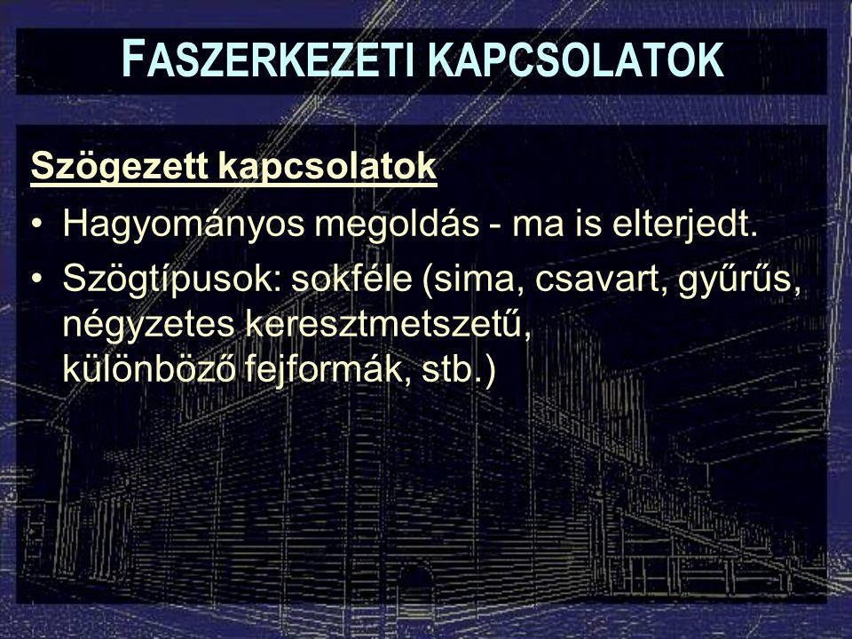 Kapcsolószerelvények F ASZERKEZETI KAPCSOLATOK Viharheveder