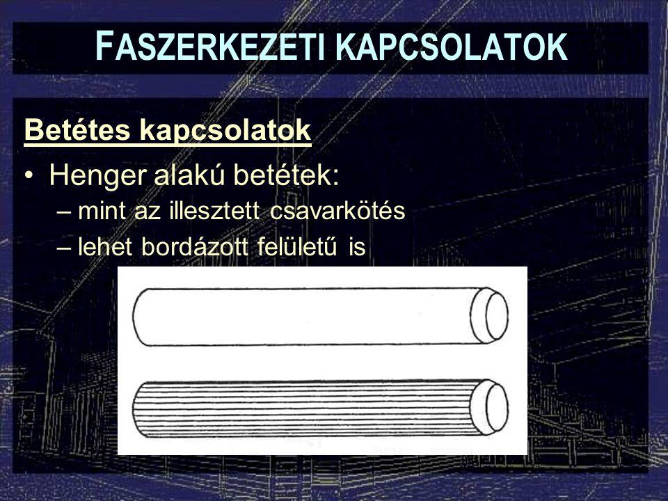 Betétes kapcsolatok F ASZERKEZETI KAPCSOLATOK Henger alakú betétek: –mint az illesztett csavarkötés –lehet bordázott felületű is