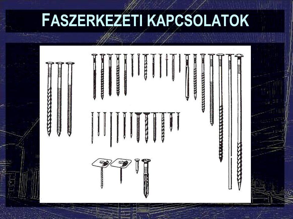 Szöglemezes kapcsolatok F ASZERKEZETI KAPCSOLATOK Lehet: –acél, vagy műgyantába ágyazott szögek –egy- vagy kétoldali