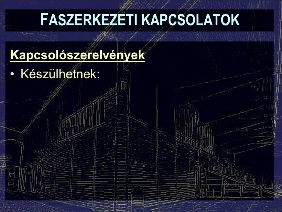 Kapcsolószerelvények F ASZERKEZETI KAPCSOLATOK Készülhetnek: