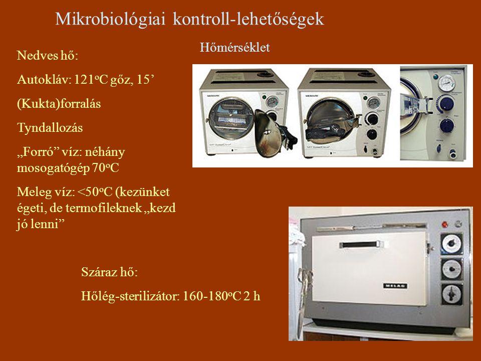 """Mikrobiológiai kontroll-lehetőségek Hőmérséklet Nedves hő: Autokláv: 121 o C gőz, 15' (Kukta)forralás Tyndallozás """"Forró"""" víz: néhány mosogatógép 70 o"""
