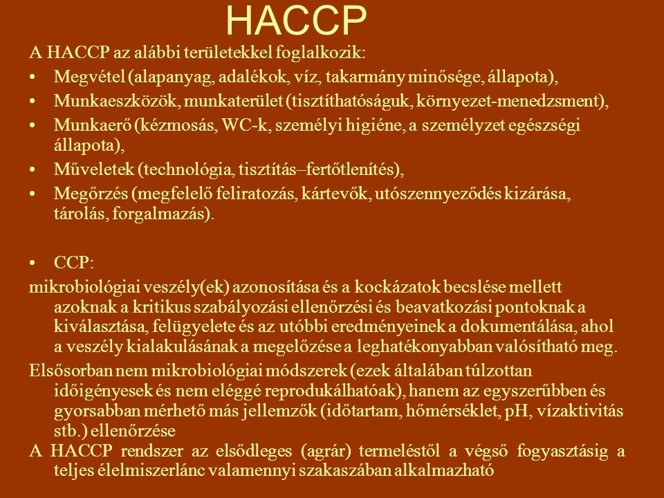 HACCP A HACCP az alábbi területekkel foglalkozik: Megvétel (alapanyag, adalékok, víz, takarmány minősége, állapota), Munkaeszközök, munkaterület (tisz
