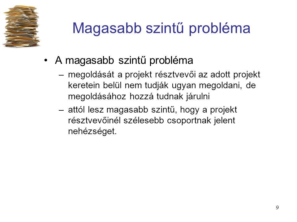 9 Magasabb szintű probléma A magasabb szintű probléma –megoldását a projekt résztvevői az adott projekt keretein belül nem tudják ugyan megoldani, de