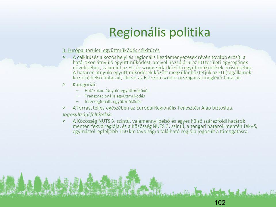 102 Regionális politika 3. Európai területi együttműködés célkitűzés > A célkitűzés a közös helyi és regionális kezdeményezések révén tovább erősíti a