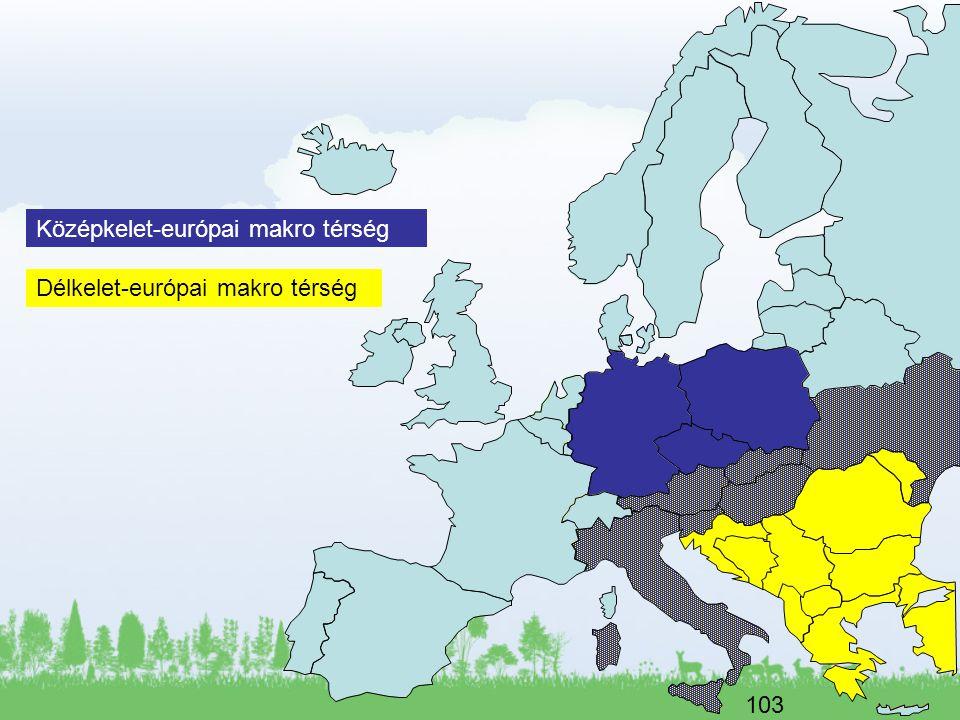 103 Középkelet-európai makro térség Délkelet-európai makro térség