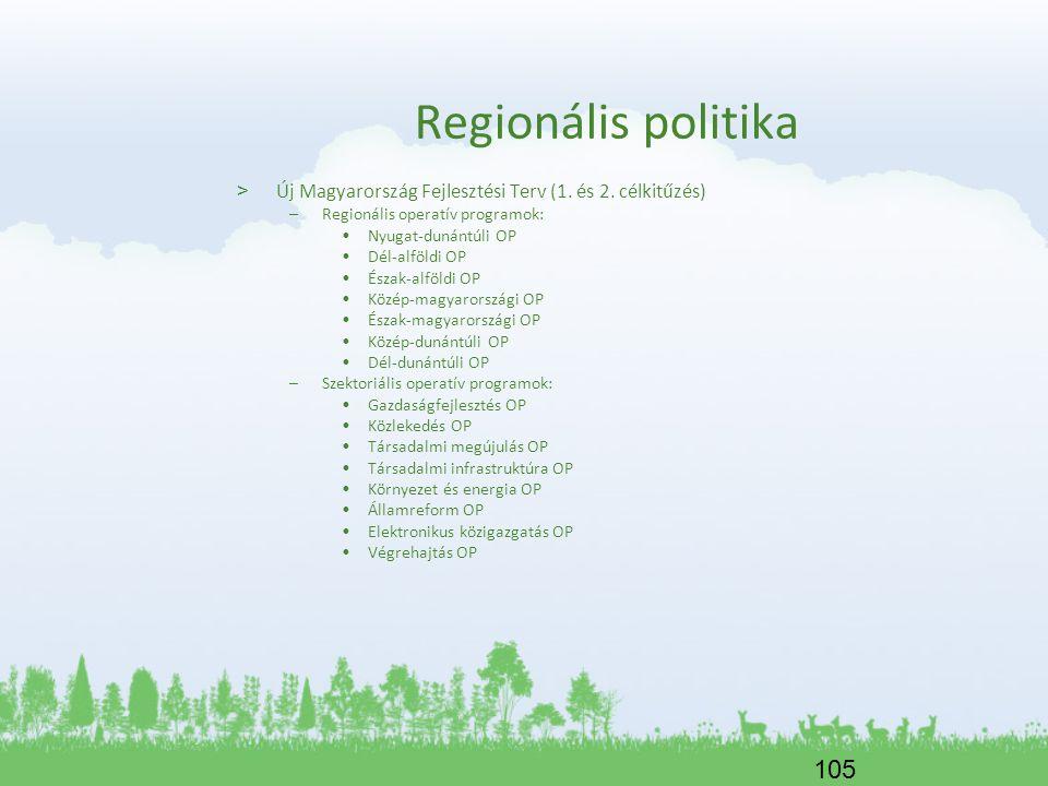 105 Regionális politika > Új Magyarország Fejlesztési Terv (1. és 2. célkitűzés) –Regionális operatív programok: Nyugat-dunántúli OP Dél-alföldi OP És
