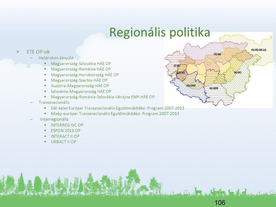 106 Regionális politika > ETE OP-ok –Határokon átnyúló Magyarország-Szlovákia HÁE OP Magyarország-Románia HÁE OP Magyarország-Horvátország HÁE OP Magy