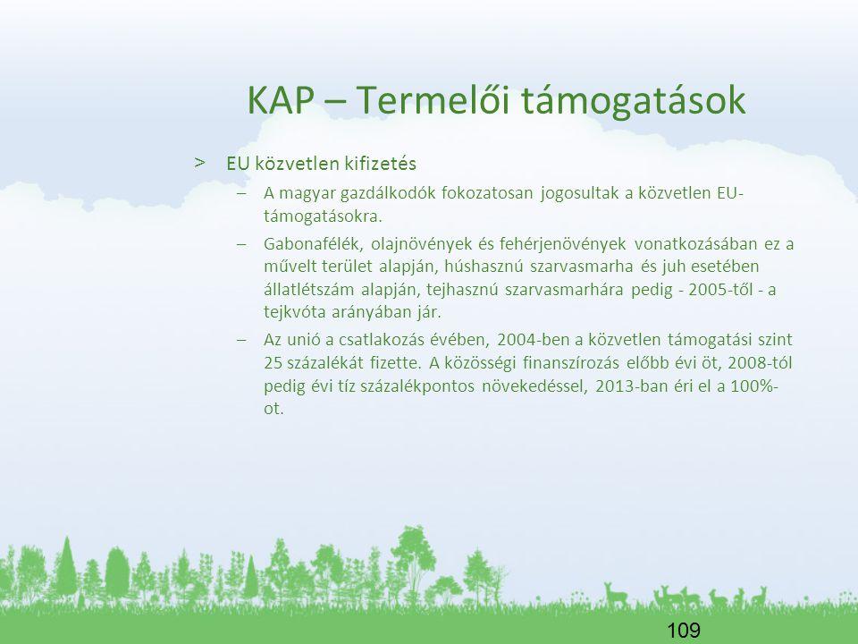 109 KAP – Termelői támogatások > EU közvetlen kifizetés –A magyar gazdálkodók fokozatosan jogosultak a közvetlen EU- támogatásokra. –Gabonafélék, olaj