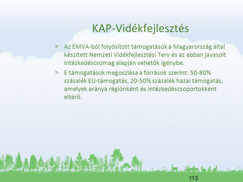 113 KAP-Vidékfejlesztés > Az EMVA-ból folyósított támogatások a Magyarország által készített Nemzeti Vidékfejlesztési Terv és az abban javasolt intézk