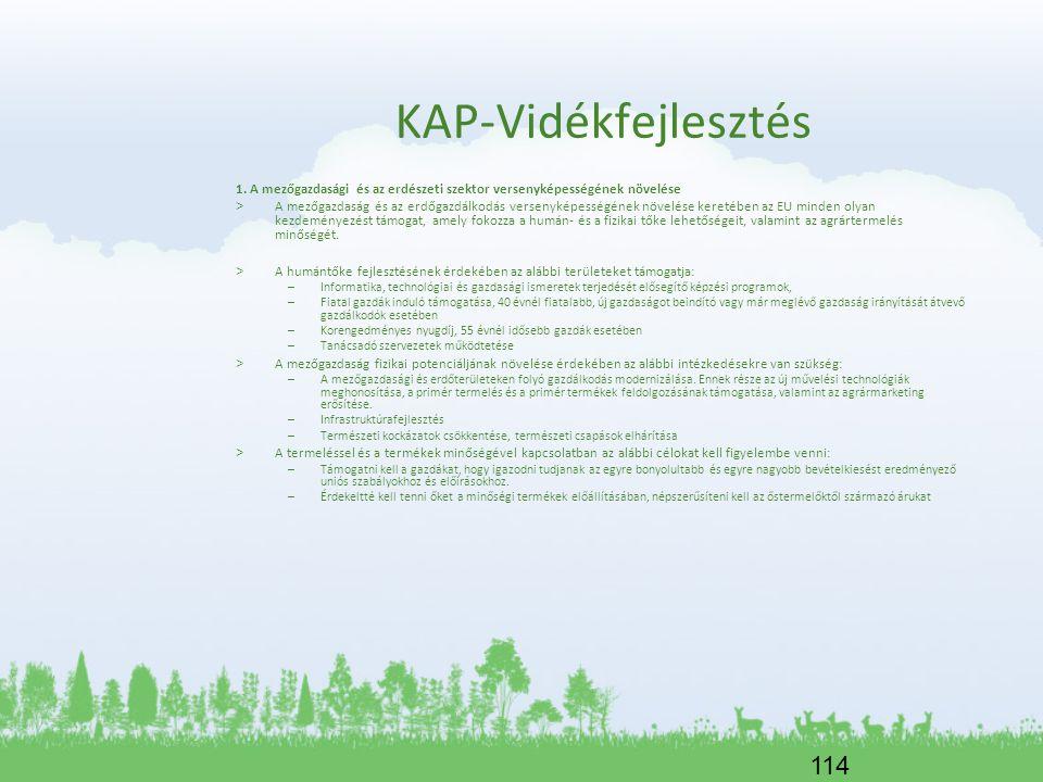114 KAP-Vidékfejlesztés 1. A mezőgazdasági és az erdészeti szektor versenyképességének növelése > A mezőgazdaság és az erdőgazdálkodás versenyképesség