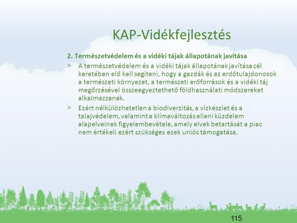 115 KAP-Vidékfejlesztés 2. Természetvédelem és a vidéki tájak állapotának javítása > A természetvédelem és a vidéki tájak állapotának javítása cél ker