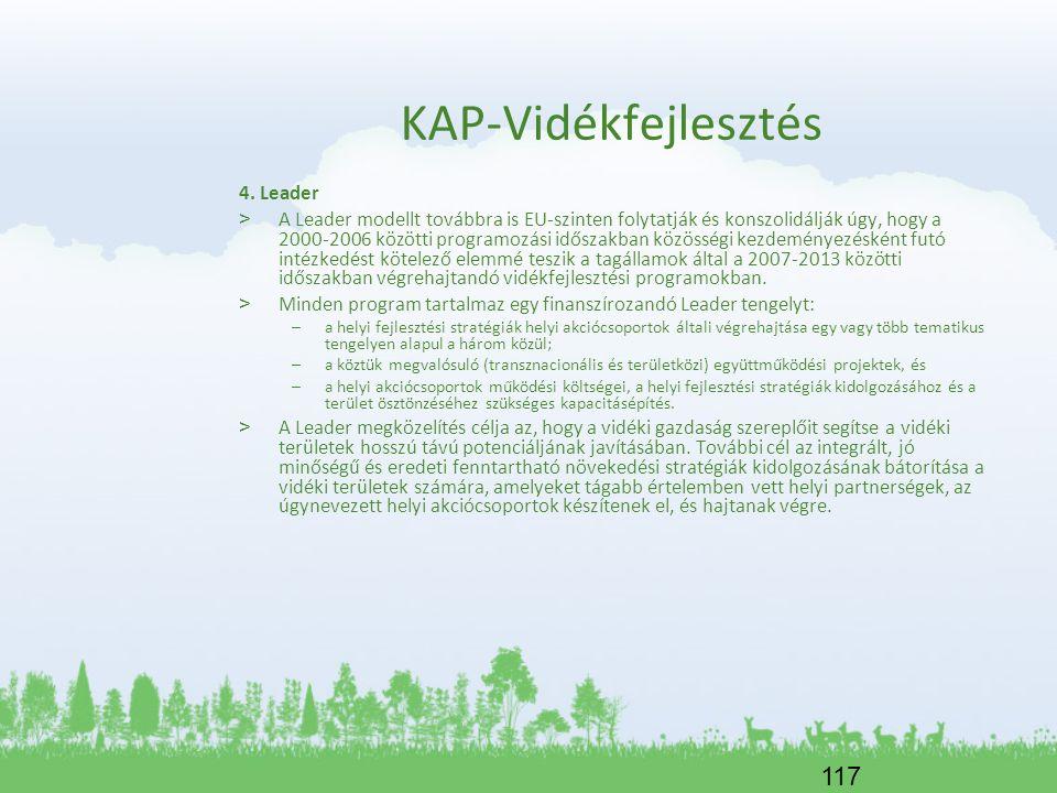 117 KAP-Vidékfejlesztés 4. Leader > A Leader modellt továbbra is EU-szinten folytatják és konszolidálják úgy, hogy a 2000-2006 közötti programozási id