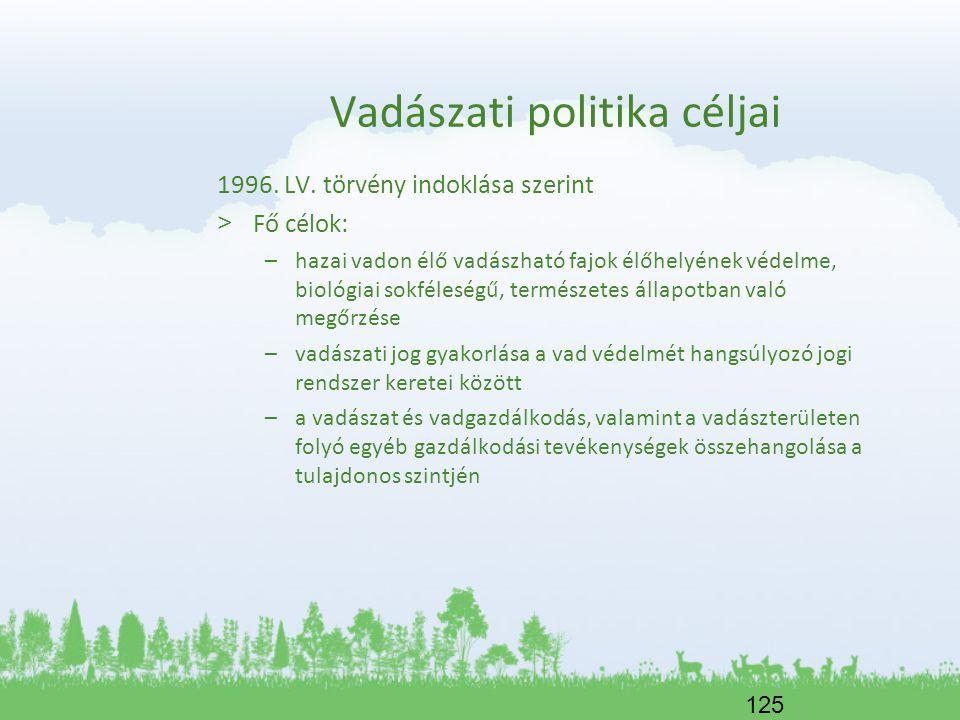 125 Vadászati politika céljai 1996. LV. törvény indoklása szerint > Fő célok: –hazai vadon élő vadászható fajok élőhelyének védelme, biológiai sokféle