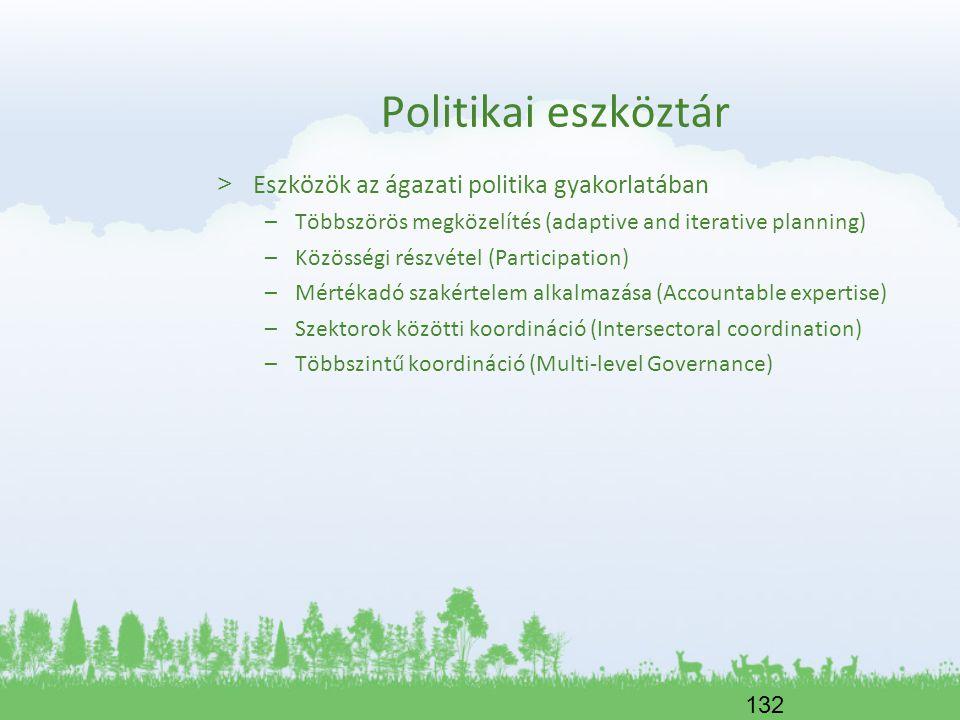132 Politikai eszköztár > Eszközök az ágazati politika gyakorlatában –Többszörös megközelítés (adaptive and iterative planning) –Közösségi részvétel (