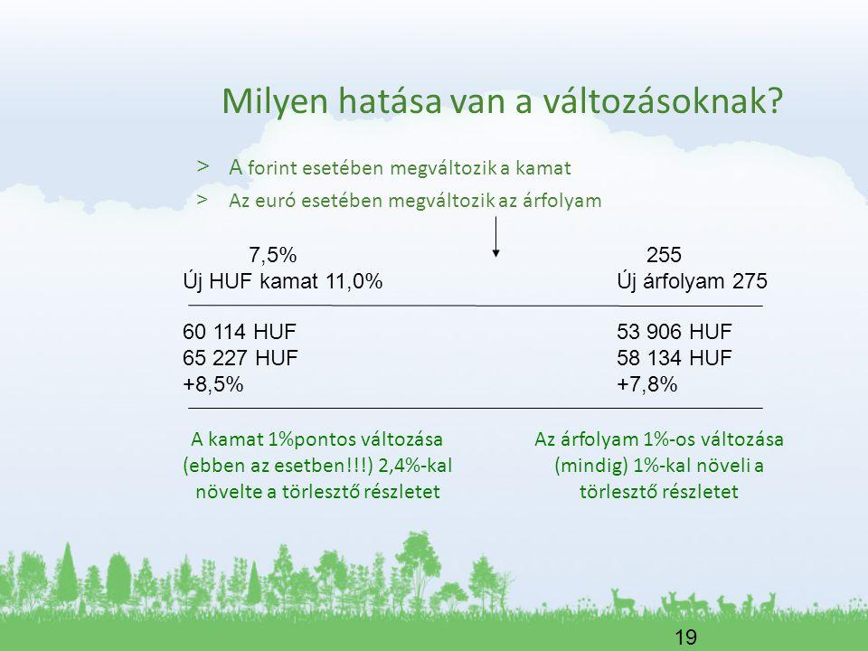 19 Milyen hatása van a változásoknak? > A forint esetében megváltozik a kamat > Az euró esetében megváltozik az árfolyam 7,5% 255 Új HUF kamat 11,0%Új