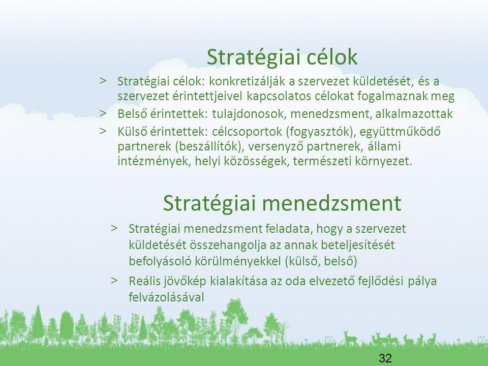 32 Stratégiai célok > Stratégiai célok: konkretizálják a szervezet küldetését, és a szervezet érintettjeivel kapcsolatos célokat fogalmaznak meg > Bel