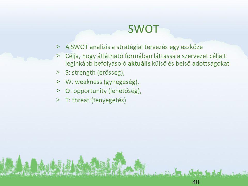 40 SWOT > A SWOT analízis a stratégiai tervezés egy eszköze > Célja, hogy átlátható formában láttassa a szervezet céljait leginkább befolyásoló aktuál