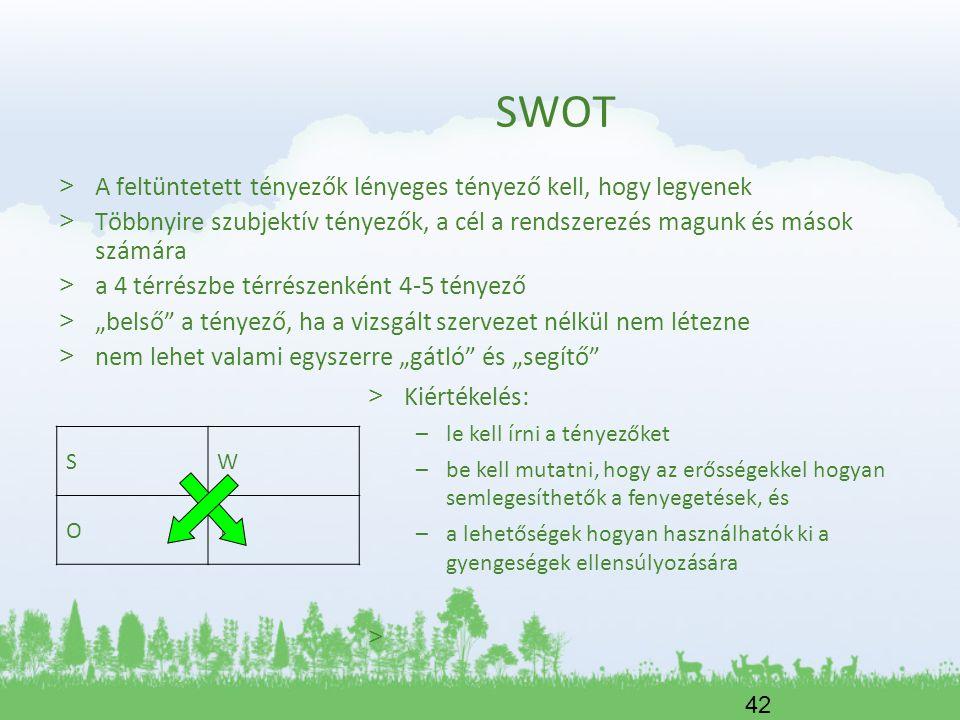 42 SWOT > A feltüntetett tényezők lényeges tényező kell, hogy legyenek > Többnyire szubjektív tényezők, a cél a rendszerezés magunk és mások számára >
