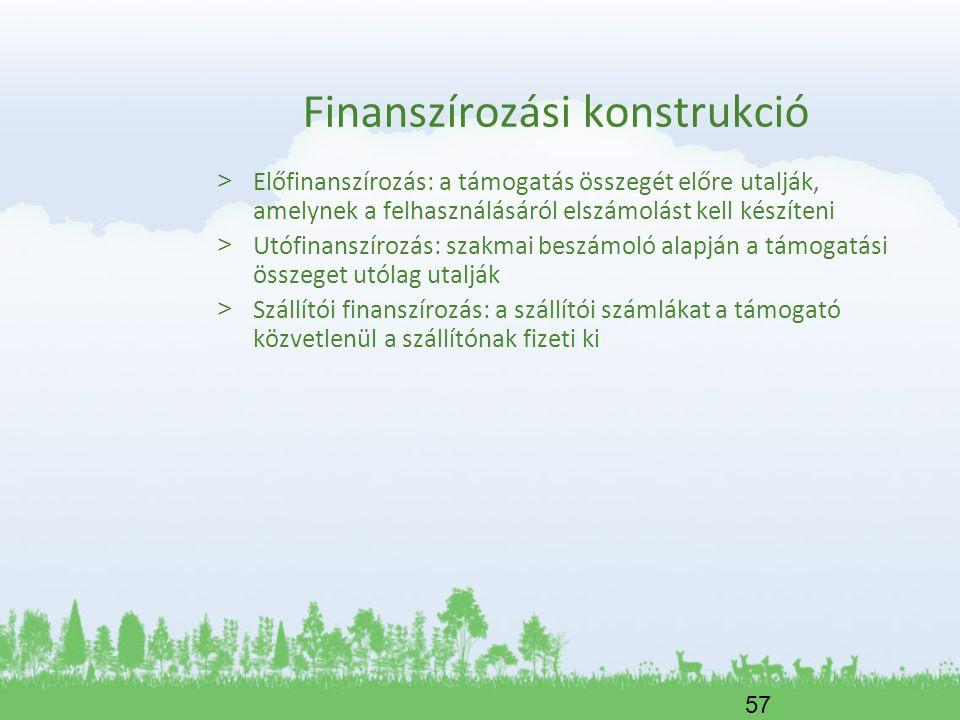 57 Finanszírozási konstrukció > Előfinanszírozás: a támogatás összegét előre utalják, amelynek a felhasználásáról elszámolást kell készíteni > Utófina
