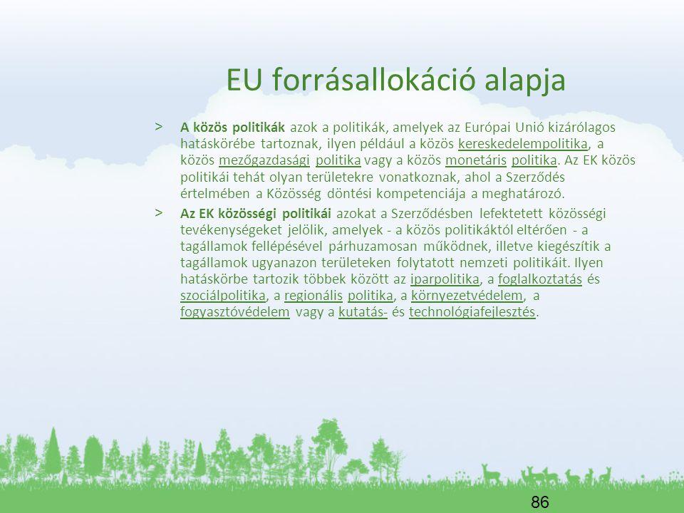 86 EU forrásallokáció alapja > A közös politikák azok a politikák, amelyek az Európai Unió kizárólagos hatáskörébe tartoznak, ilyen például a közös ke