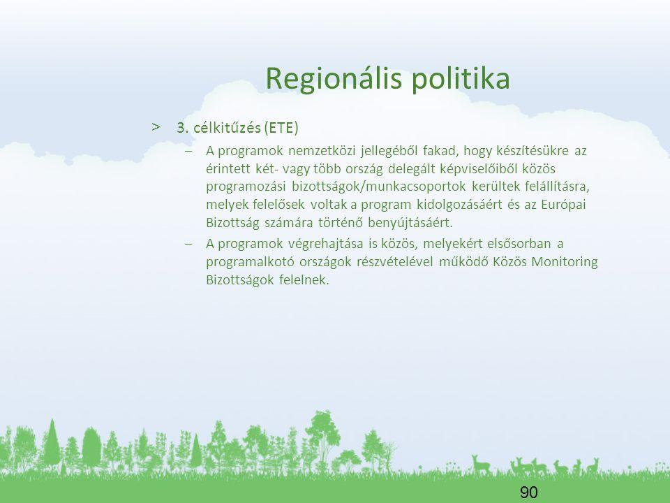 90 Regionális politika > 3. célkitűzés (ETE) –A programok nemzetközi jellegéből fakad, hogy készítésükre az érintett két- vagy több ország delegált ké
