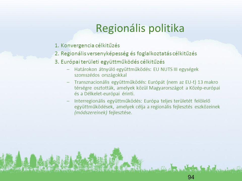 94 Regionális politika 1. Konvergencia célkitűzés 2. Regionális versenyképesség és foglalkoztatás célkitűzés 3. Európai területi együttműködés célkitű