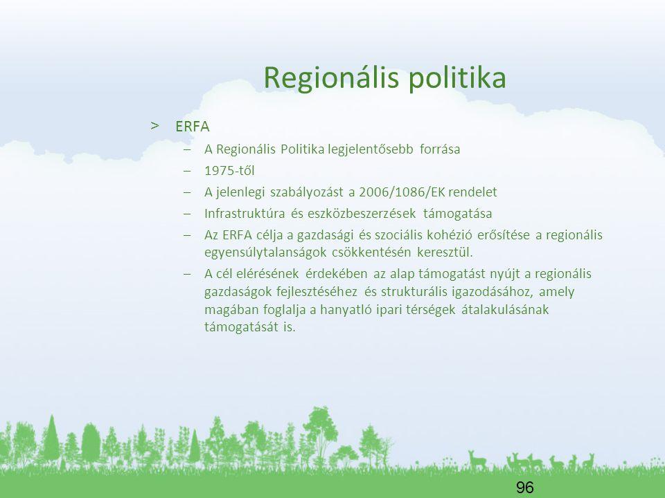 96 Regionális politika > ERFA –A Regionális Politika legjelentősebb forrása –1975-től –A jelenlegi szabályozást a 2006/1086/EK rendelet –Infrastruktúr