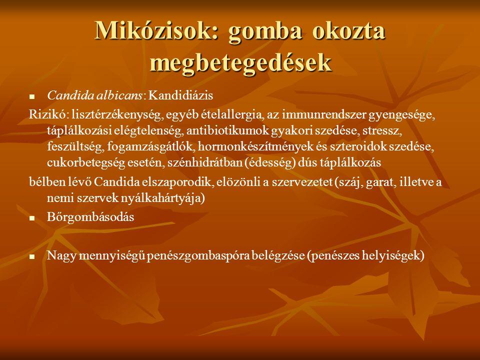 Mikózisok: gomba okozta megbetegedések Candida albicans: Kandidiázis Rizikó: lisztérzékenység, egyéb ételallergia, az immunrendszer gyengesége, táplál