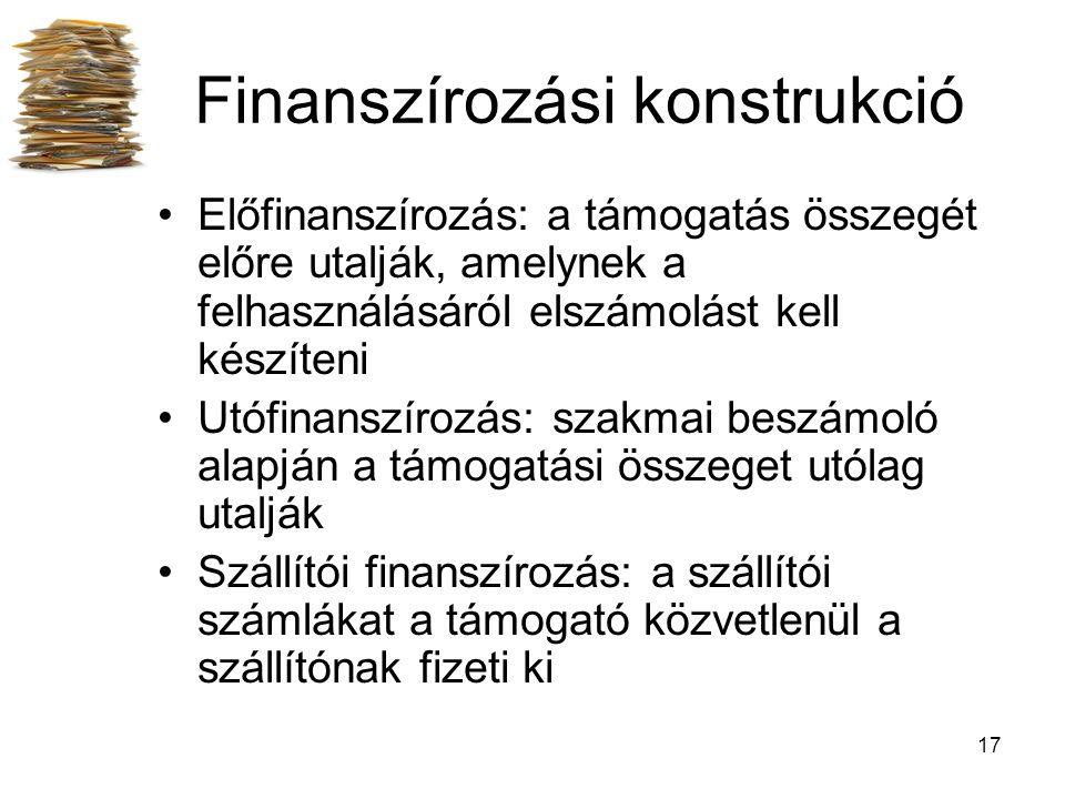 17 Finanszírozási konstrukció Előfinanszírozás: a támogatás összegét előre utalják, amelynek a felhasználásáról elszámolást kell készíteni Utófinanszírozás: szakmai beszámoló alapján a támogatási összeget utólag utalják Szállítói finanszírozás: a szállítói számlákat a támogató közvetlenül a szállítónak fizeti ki