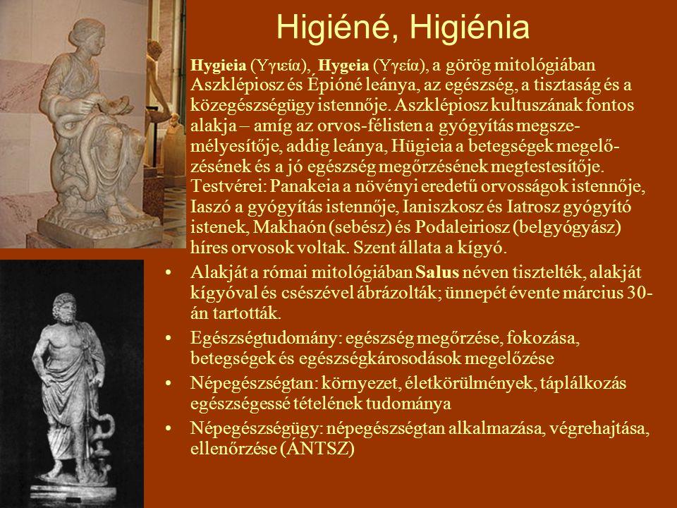 Higiéné, Higiénia Hygieia (  γιεία), Hygeia (  γεία), a görög mitológiában Aszklépiosz és Épióné leánya, az egészség, a tisztaság és a közegészségüg