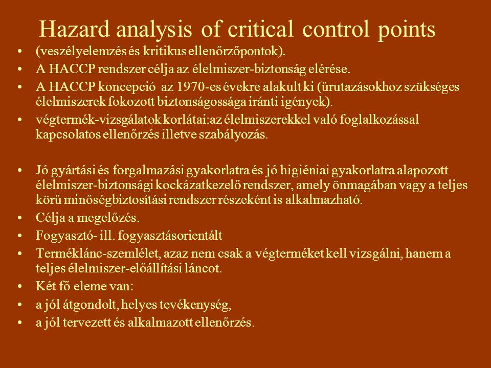 Hazard analysis of critical control points (veszélyelemzés és kritikus ellenőrzőpontok). A HACCP rendszer célja az élelmiszer-biztonság elérése. A HAC