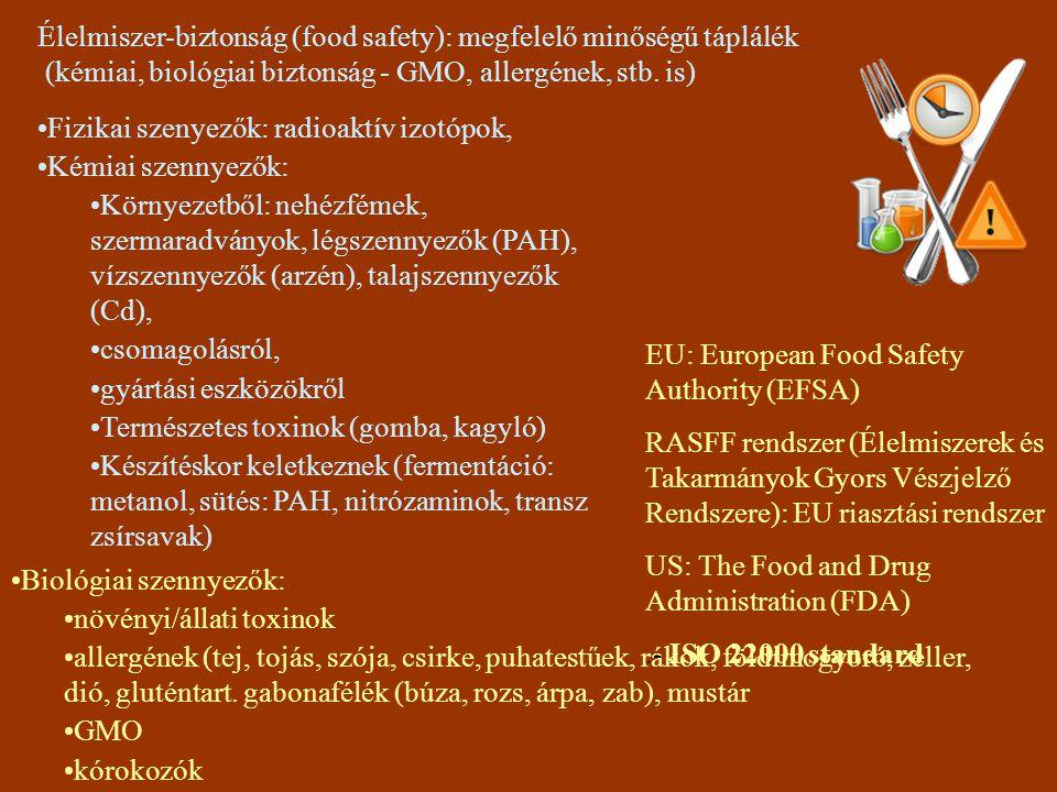 Élelmiszer-biztonság (food safety): megfelelő minőségű táplálék (kémiai, biológiai biztonság - GMO, allergének, stb. is) Fizikai szenyezők: radioaktív