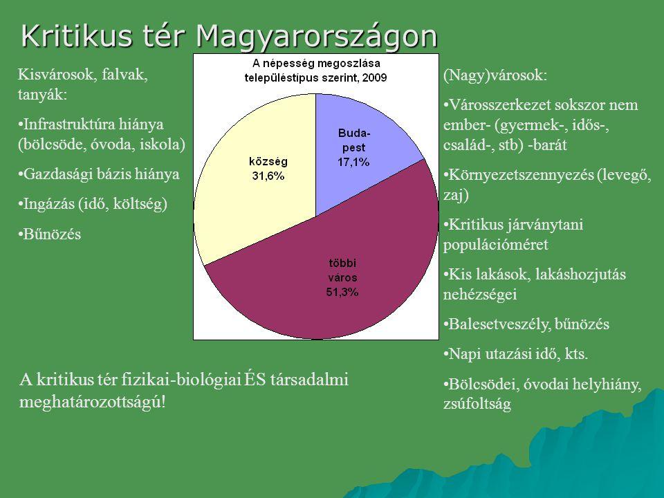 Kritikus tér Magyarországon (Nagy)városok: Városszerkezet sokszor nem ember- (gyermek-, idős-, család-, stb) -barát Környezetszennyezés (levegő, zaj)