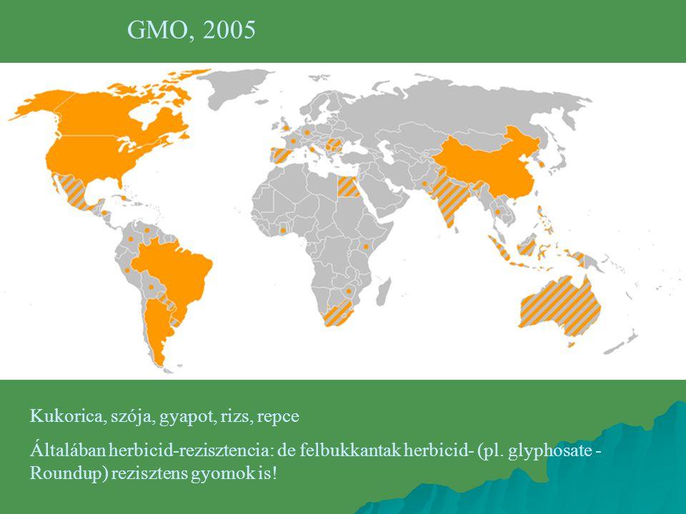 GMO, 2005 Kukorica, szója, gyapot, rizs, repce Általában herbicid-rezisztencia: de felbukkantak herbicid- (pl. glyphosate - Roundup) rezisztens gyomok