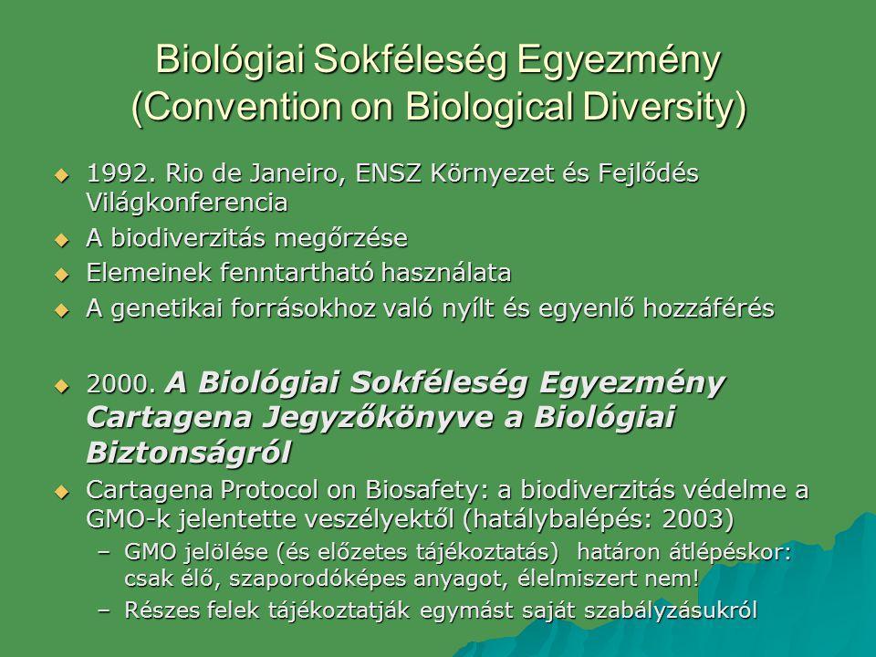 Biológiai Sokféleség Egyezmény (Convention on Biological Diversity)  1992. Rio de Janeiro, ENSZ Környezet és Fejlődés Világkonferencia  A biodiverzi