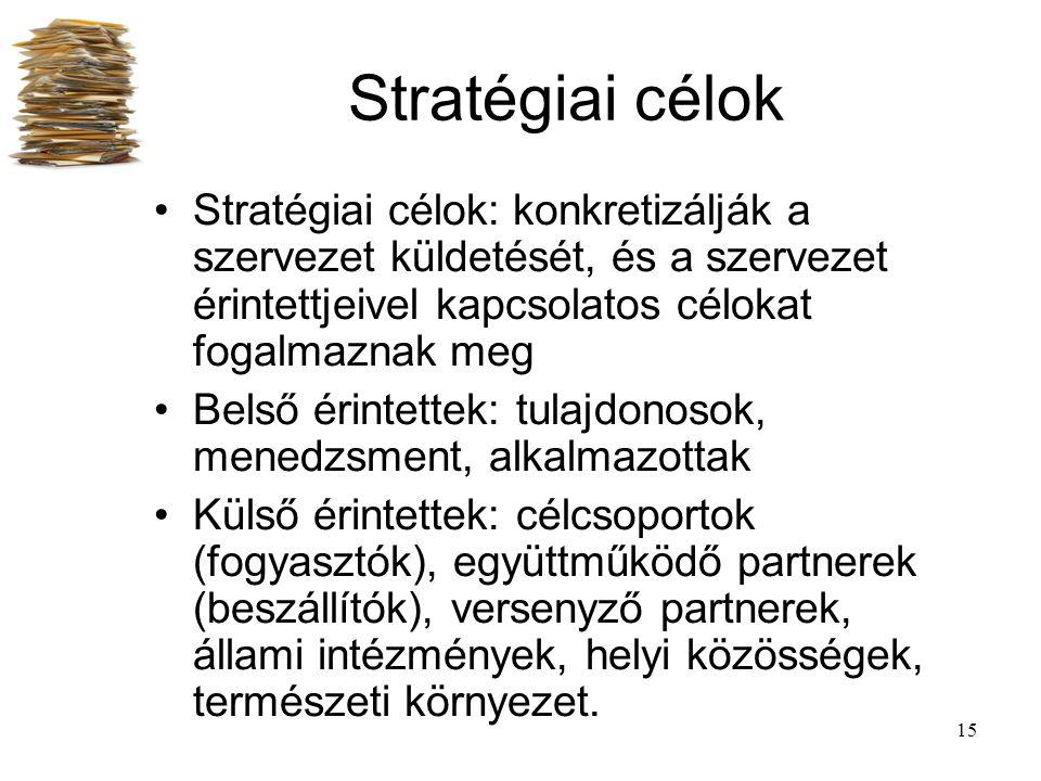 15 Stratégiai célok Stratégiai célok: konkretizálják a szervezet küldetését, és a szervezet érintettjeivel kapcsolatos célokat fogalmaznak meg Belső é