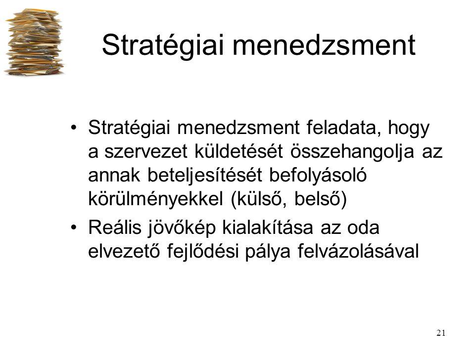 21 Stratégiai menedzsment Stratégiai menedzsment feladata, hogy a szervezet küldetését összehangolja az annak beteljesítését befolyásoló körülményekke