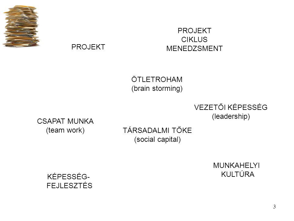 3 PROJEKT CSAPAT MUNKA (team work) ÖTLETROHAM (brain storming) TÁRSADALMI TŐKE (social capital) MUNKAHELYI KULTÚRA KÉPESSÉG- FEJLESZTÉS VEZETŐI KÉPESS
