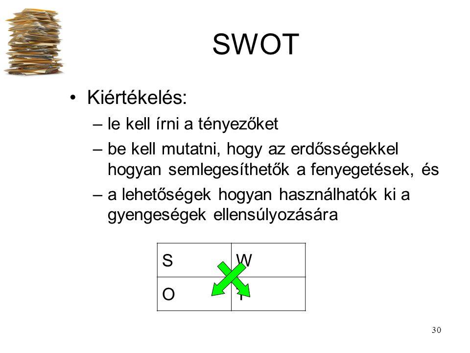 30 SWOT Kiértékelés: –le kell írni a tényezőket –be kell mutatni, hogy az erdősségekkel hogyan semlegesíthetők a fenyegetések, és –a lehetőségek hogya