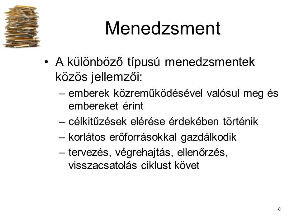20 Menedzsment dimenziók A szervezetek irányításának 3 szintjét különböztetjük meg: –stratégiai menedzsment –projekt menedzsment –folyamat (operatív) menedzsment Időtáv szerint: –stratégia -> jövő –folyamat -> jelen –projekt -> átmenet