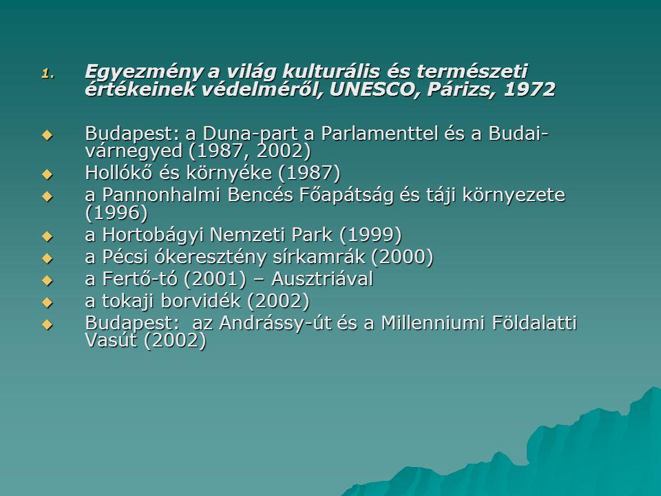 1. Egyezmény a világ kulturális és természeti értékeinek védelméről, UNESCO, Párizs, 1972  Budapest: a Duna-part a Parlamenttel és a Budai- várnegyed