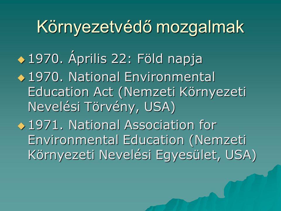 Környezetvédő mozgalmak  1970.Április 22: Föld napja  1970.