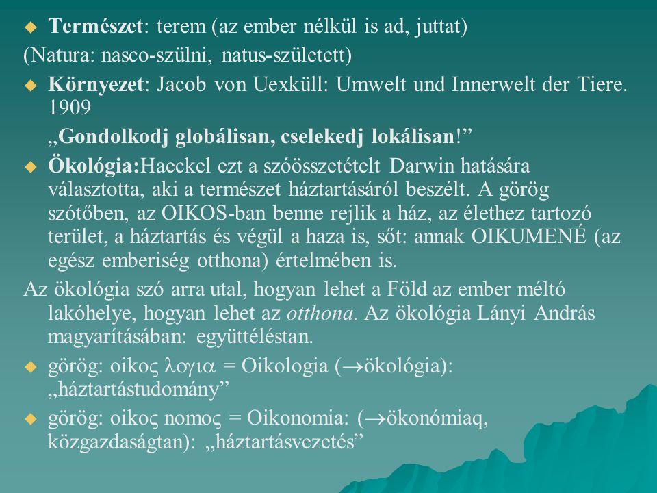   Természet: terem (az ember nélkül is ad, juttat) (Natura: nasco-szülni, natus-született)   Környezet: Jacob von Uexküll: Umwelt und Innerwelt der Tiere.