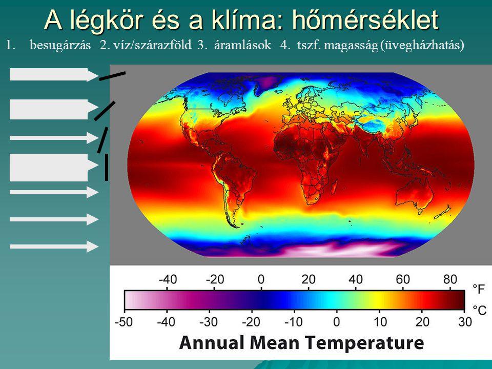 A légkör és a klíma: hőmérséklet 1.besugárzás 2.víz/szárazföld 3.