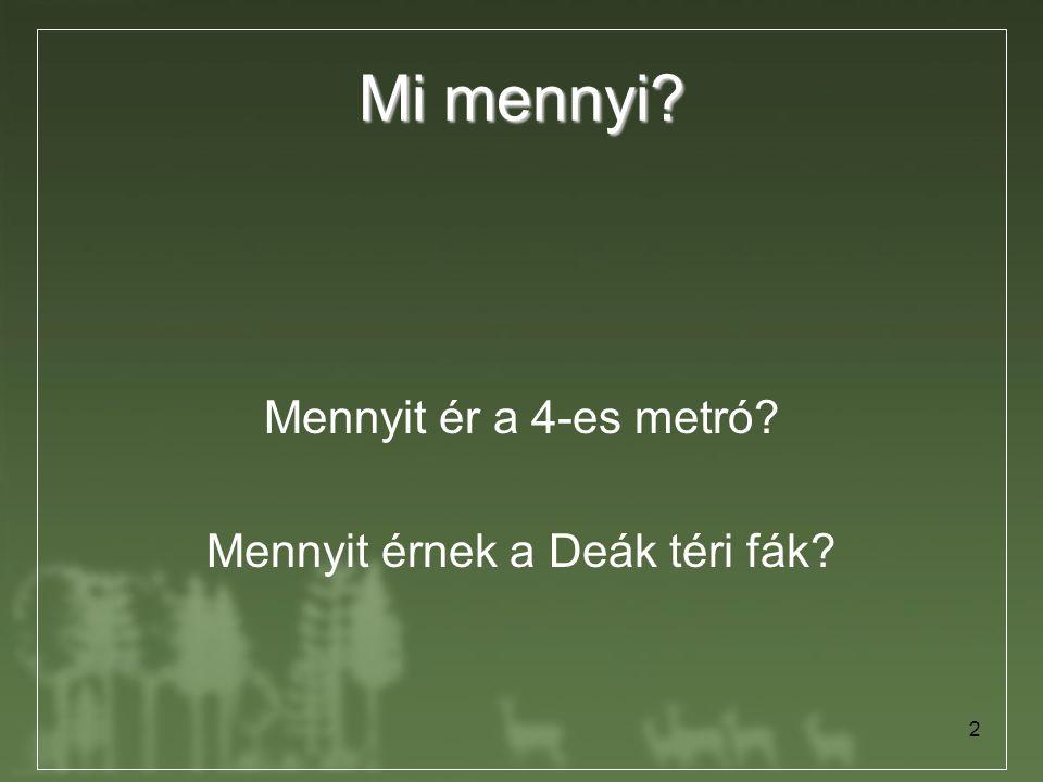 2 Mi mennyi? Mennyit ér a 4-es metró? Mennyit érnek a Deák téri fák?
