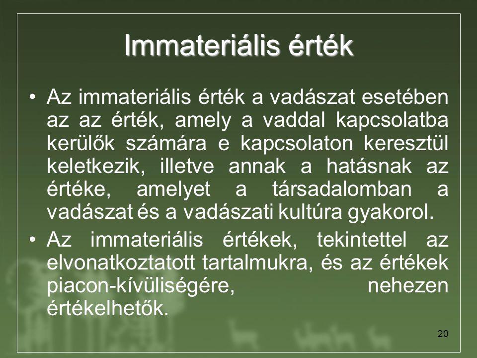 20 Immateriális érték Az immateriális érték a vadászat esetében az az érték, amely a vaddal kapcsolatba kerülők számára e kapcsolaton keresztül keletk