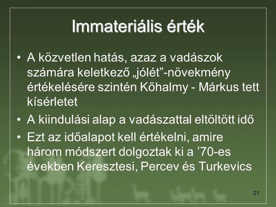 """21 Immateriális érték A közvetlen hatás, azaz a vadászok számára keletkező """"jólét""""-növekmény értékelésére szintén Kőhalmy - Márkus tett kísérletet A k"""